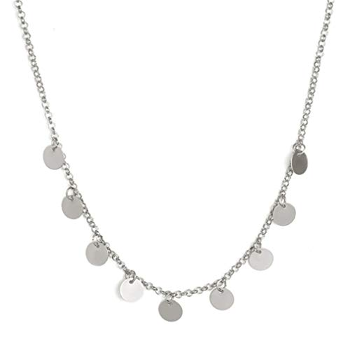 Sevenfly Zierliche Choker Halskette böhmen Pailletten quaste münze Halskette zarte Kette Halskette für Frauen (Silber Farbe grau) -