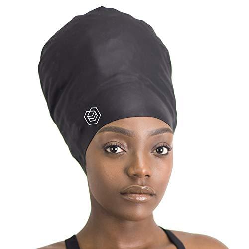SOUL CAP XXL - EXTRA extra große Badekappe/Schwimmkappe/Bademütze/Duschhaube | für langes Haar, Dreadlocks, Weaves, Extensions, Locken & Afrohaar | für Frauen und Männer | Silikon (Schwarz)
