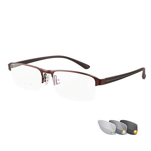 Multifunktions-Lesebrillen, photochrome Gläser mit doppelter Lichtfarbe, Progressive multifokale, superleichte Metallhalbrandgläser, leichte, dünne, komfortable Business-Brillen, Kunstharzgläser