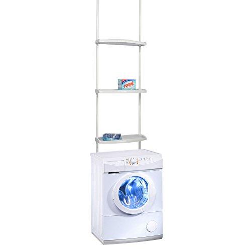 Mojawo Waschmaschinen Teleskop Regal Bad Standregal Badezimmer Ablage Überbauregal Weiß H170-275cm