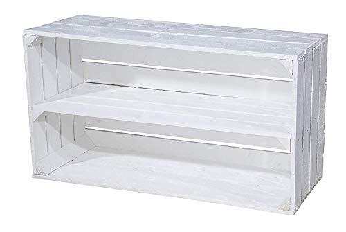Eine Grosse Obstkiste in weiß mit langem Einlageboden/Zwischenbrett / Regalkiste...