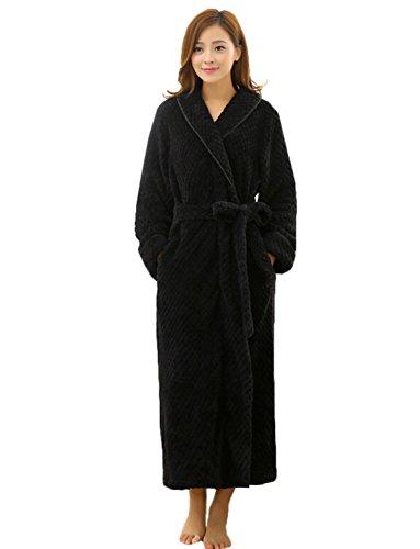 - 31cdDCjNOpL - BELLOO Ladies Winter Velvet Fleece Dressing Gown Full Long Fluffy Loungewear Bathrobe