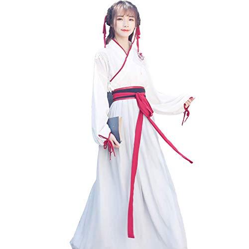 Kostüm Martial Arts - Susichou Hanfu Kostüm für den täglichen Gebrauch, Martial Arts, Kreuz, Bestickt, Studentenunterricht, Abschlussschein Gr. Medium, weiß