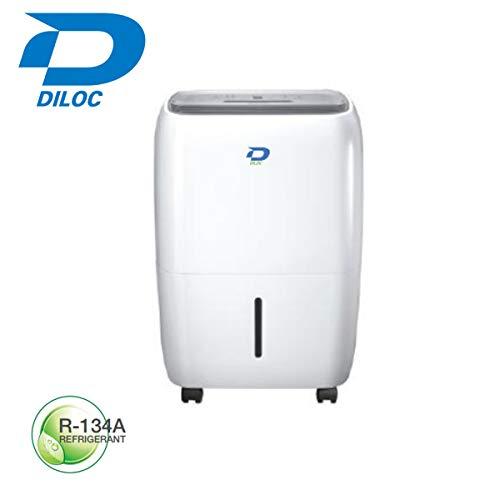 Diloc - Deshumidificador compacto de 18 litros, ruedas de descongelación automática con mando a distancia de gas refrigerante R134A D.18TU