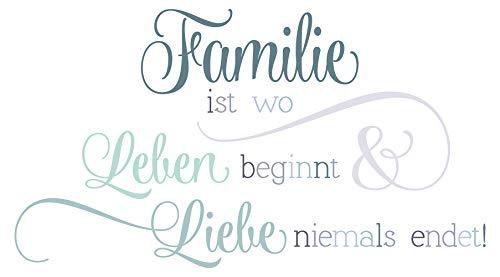 Wandtattoo Familien Spruch Leben und Liebe in grünen Pastel Farben