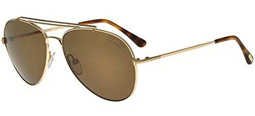 Tom Ford Unisex-Erwachsene FT0497 28H 58 Sonnenbrille, Gold (Oro Rosa Lucido/Marrone Polar),