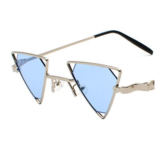 ShengEnn Sonnenbrille für Frauen-Lustige Sonnenbrille Dreieck Hohle Sonnenbrille Europa und Amerika Persönlichkeit Metall Sonnenbrille Silberrahmen blauen Film