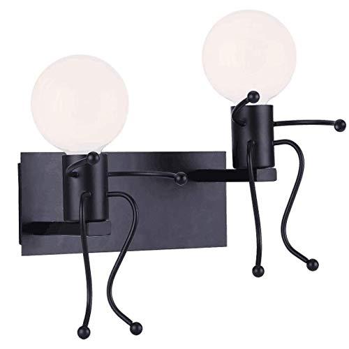 KAWELL Creativo Vintage Apliques de Pared Lámpara Metal Industrial Retro Luz de Pared Base de Hierro Art Deco E27 Base para Bar, Dormitorio, Cocina, Restaurante, Cafetería, Pasillo, Negro x 2
