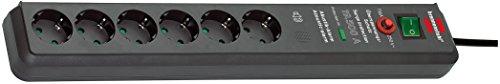 Brennenstuhl Secure-Tec, Steckdosenleiste 6-fach mit Überspannungsschutz und akustischem Warnsignal (3m Kabel und Schalter) Farbe: anthrazit