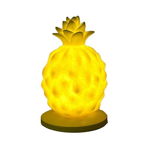 Lampe De Chevet Chambre De Charge USB Charge Ananas Nuit Enfants Led Fruit Tactile Silicone Pat Lumière (Couleur : Jaune)