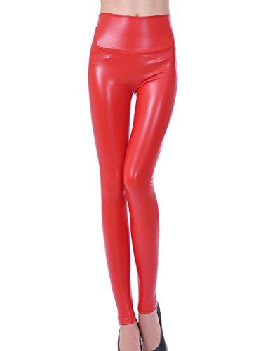 Mujeres Pu Cuero Leggings Skinny Elásticos Treggings Pantalones Cintu