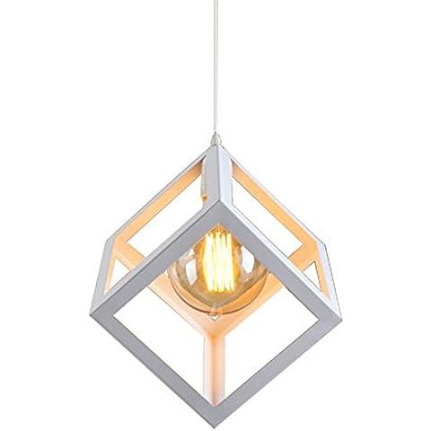 CAC Cubo Vintage illumina Ciondolo Nord Europa industriale Illuminazioni di ferro per Cafe & Bar retrò Edison Loft Lampade pendenti,bianco,15cm 6 poll.(3)