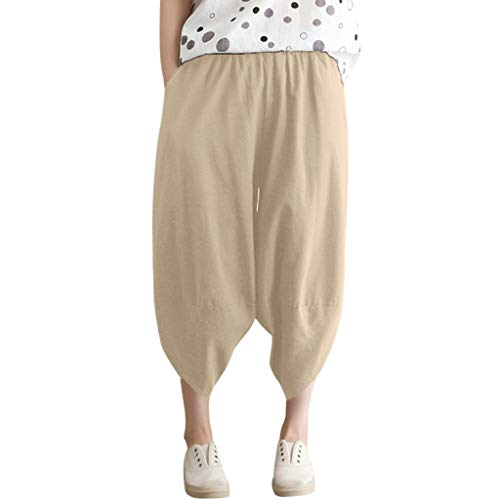 Kashmir Kostüm Kinder - WOZOW Harem Pants Damen Capri Bettwäsche Baumwolle Hippie Solid Einfarbig Irregular Bloomers Casual Loose Long High Waist Saggy Crop Trousers (2XL,Beige)