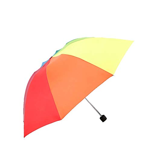 Jakiload Faltbarer Regenschirm-Regenschirm Neuer kreativer Sonnenschutz Dreifachgefalteter Regenbogen-Regenschirm