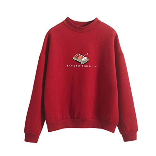 Damen Bekleidung Mode Lange Ärmel Lose Sushi Drucken Sweatshirt Shirt Top T-Shirt