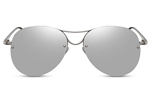 Cheapass Piloten-Sonnenbrille Silber-n Verspiegelt Groß Rund UV-400 Flieger-Brille Designer-Brille Festival Metall Unisex