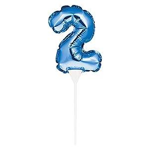 Creative Converting 8C337533 - Balón de fútbol autoinflable (23 x 9 cm, número 2), color azul