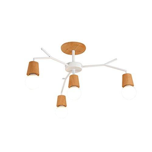Gerre Araña de Luces Luz de Techo de la lámpara IKEA Moderna iluminación de Madera sólida de la Personalidad Minimalista para la Sala de Estar/Dormitorio/Estudio/Lobby (Color : 4 Lamp(White))