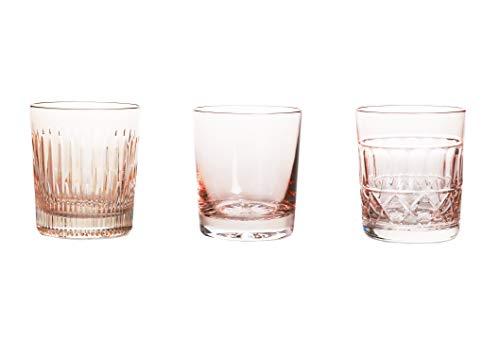 Crystaljulia 14693 Lot de 3 verres à whisky en cristal au plomb Rose clair