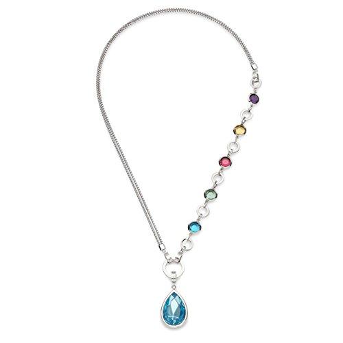 JEWELS BY LEONARDO DARLIN'S Damen-Set-Halskette Variato, Edelstahl mit Farbglassteinen, Tropfenanhänger mit blauem Glasstein, Länge 650 mm, 015480