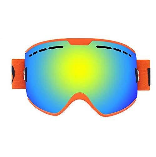 JSHFD Männer, Frauen und OTG Skibrillen, Anti-Fog, Anti-Blendung, Winddicht, 100% UV400 UV-Schutzlinse, Geeignet zum Skifahren Snowboard Downhill-Ski (Farbe : Orange)