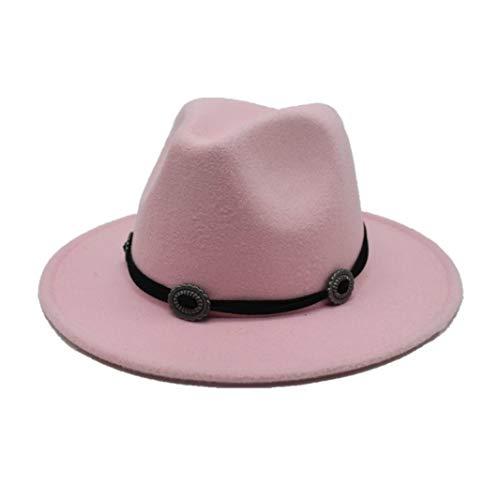 Donad Männer Frauen Retro Fedora Wide Brim Hut mit Metallgürtel Jazz Felt Top Hat