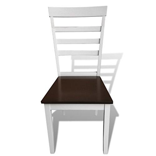 Anself Set 8 Sedie Cucina Moderne in legno marrone / bianco ...