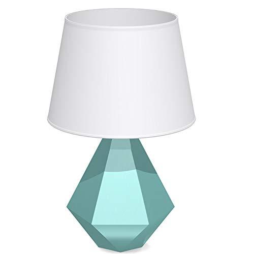HECHEN Schlafzimmer tischlampe einfache Moderne warme kreative Diamant dekorative nachttischlampe pc Stoff lampenschirm + Harz Material körper,Green - Poly Körper