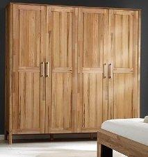 6-6-5-2125: Schlafzimmerprogramm AAS - Kernbuche geölt - schöner Kleiderschrank - Schlafzimmer-Schrank - 205 cm breit