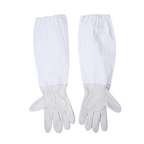 Gants pour Apiculteur Anti-bee Gants de protection avec plus épais et plus longs manches 1 paire A: Bleached Cloth blanc