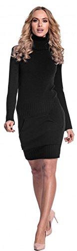 Glamour Empire. Femme Mini Robe moulante en maille. Robe pull à col roulé. 178 Noir