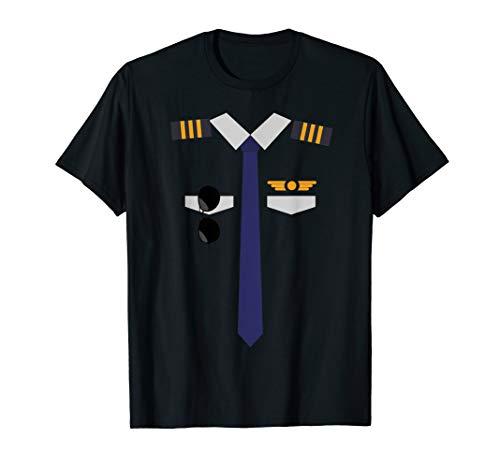 Flugzeug-Pilot Uniform | Halloween Kapitän T-Shirt - Pilot Uniform