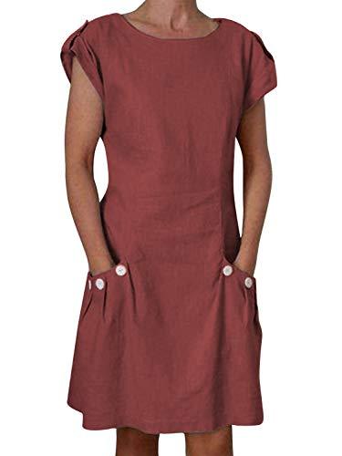 """Yidarton Damen Sommer Kleider Strand Elegant Casual A-Linie Kleider à""""rmellos Strandkleid Sommerkleider Partykleid Minikleider, Rot3, M"""