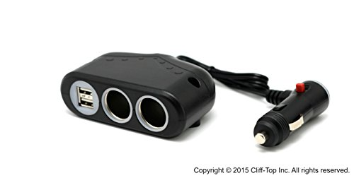 Cliff-Top® 12-24V 3.3 Amp MULTI-PRESA Caricabatteria Per Auto - (2 porte USB + 2 prese (Power Supply 10 Amp)