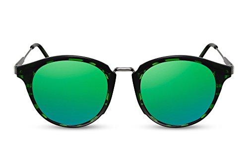 Cheapass Rund-e Sonnenbrille Grün Verspiegelt-e Gläser UV-400 Designer-Brille Metall-Rahmen Frauen Männer