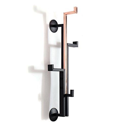 DESIGN DELIGHTS MODERNE WANDGARDEROBE TOKIO | Stahl, 54 cm, schwarz/kupfer | Garderobenhaken, Kleiderhaken