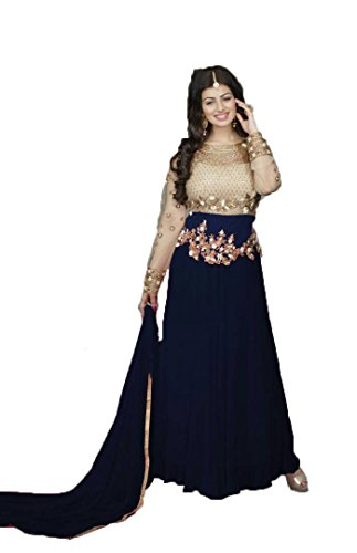 Active Feel Free Life Women's Georgette Anarkali Salwar Suit Set (Go022-Classic Gold-Blue-Oll1_Blue_Free...