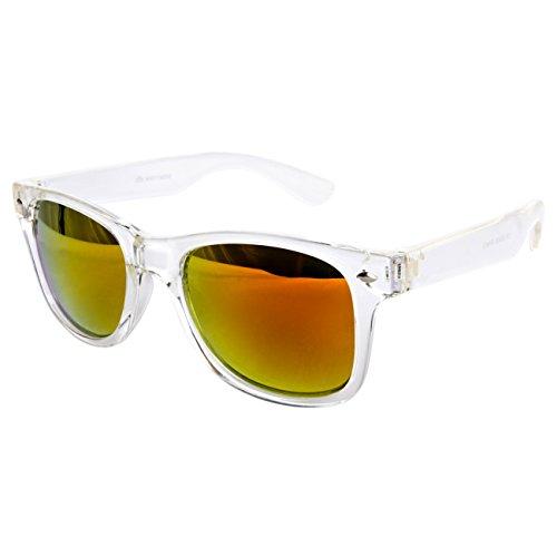 Ciffre EL-Sunprotect Sonnenbrille Nerdbrille Brille Nerd Transparent Weiß Feuer UV400