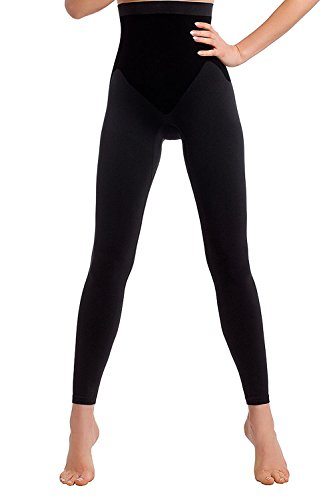 (TESPOL sehr hochwertige figurformende Damen-Shaping-Leggings seamless, schwarz, Gr. S (36))
