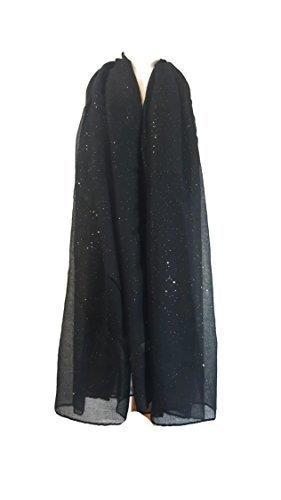 Nuevo Bufanda Maxi Cruzado Para Mujer Con Purpurina Stardust - stardust Liso/Cuentas/Bordado/Encaje CON LLAVERO GRATIS - sintético, Negro, 100% viscosa, mujer, 99 x 183 cm