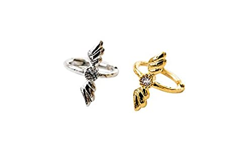 Stainless Steel 16g 16Gauge Lucky Cartilage Daith Snug Tragus Helix Indutrial Barbell Love Heart Monarch Dragonfly Faux Goddess Fairy Winged Bts Angel Feather CZ Wing Ear Studs Piercing Earring-PK
