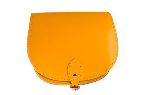 Amarillo ocaso de una silla de cuero real cuerpo de la cruz del bolso con correa ajustable y Cierre Hebilla