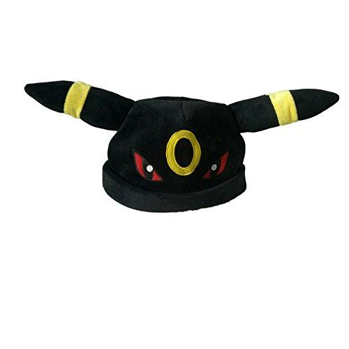 Pokemon Kostüm Umbreon - PIDAK SHOP Evolution Hut Kopfhörer Schwarz und Gelb Cosplay aus 100% Baumwolle