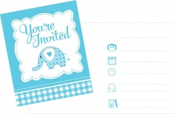 Christening Invites - Pack of 8 - Blue (Blue Elephant Party Supplies)