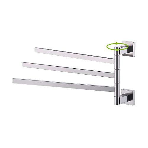 KES SUS 304Edelstahl SWING OUT Handtuch Bar klappbar Arm schwenkbar Aufhänger Badezimmer Lagerung Organizer rostfrei quadratisch Stil Wandhalterung, bth203-p, edelstahl, Gebürstet, 3-Arm