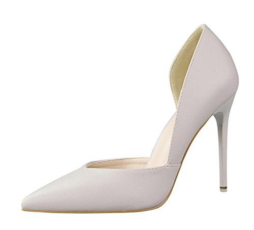 Minetom Damen Klassischer Geschlossene Pumps Lackleder High Heel Schuhe Partei Spitz Stiletto Hellgrau