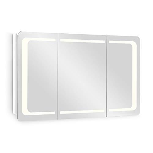 Galdem Spiegelschrank ROUND100 Badezimmerschrank 100cm 3 türig mit LED - Beleuchtung Softclose Funktion Steckdose Badezimmer Spiegel Flurspiegel