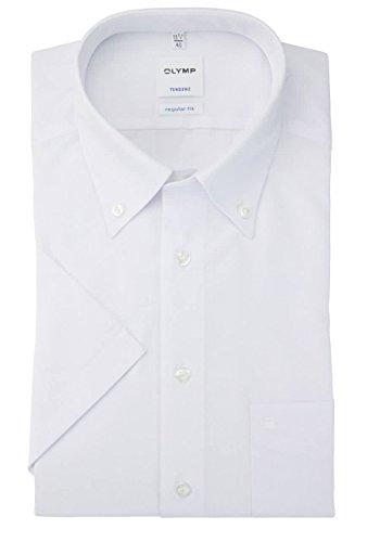 OLYMP Regular Fit Hemd Halbarm Uni Popeline weiß 0501/12/00 Weiß