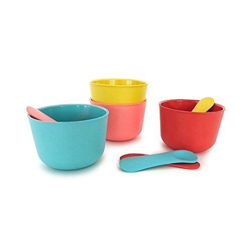EKOBO Bambino Set inkl. 4 Löffeln Eisbecher, Bambus, Coral, Lagoon, Lemon, Tomato, 17,5 x 9 x 9 cm, 4-Einheiten