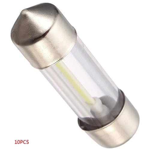 Preisvergleich Produktbild 10pcs 36mm DC12V COB Filament LED Dome Kfz-Kennzeichen-Glaslicht Cat Trunk Lese weiße Birnen
